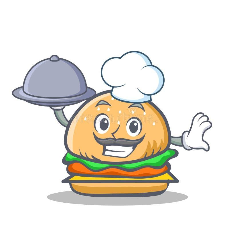 Szefa kuchni hamburgeru charakteru fast food z jedzeniem royalty ilustracja