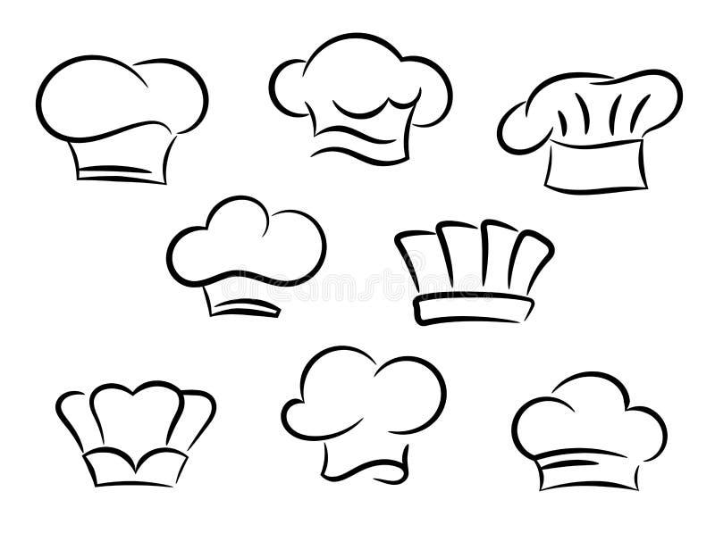 Szefa kuchni i kucharza kapelusze ustawiający ilustracji
