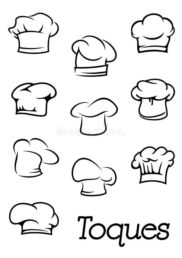 Szefa kuchni i piekarza toques odosobnione sylwetki ilustracji