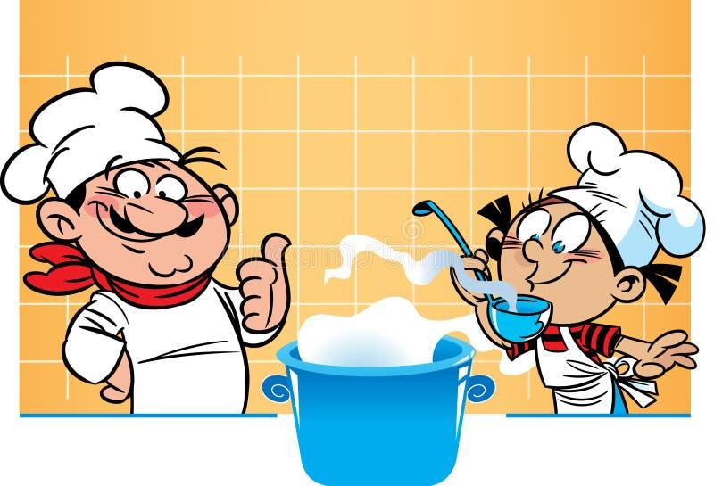 Szefa kuchni i ucznia kucharz ilustracja wektor
