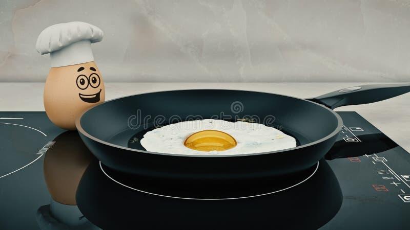 Szefa kuchni jajko pojęcie kucharz ilustracji