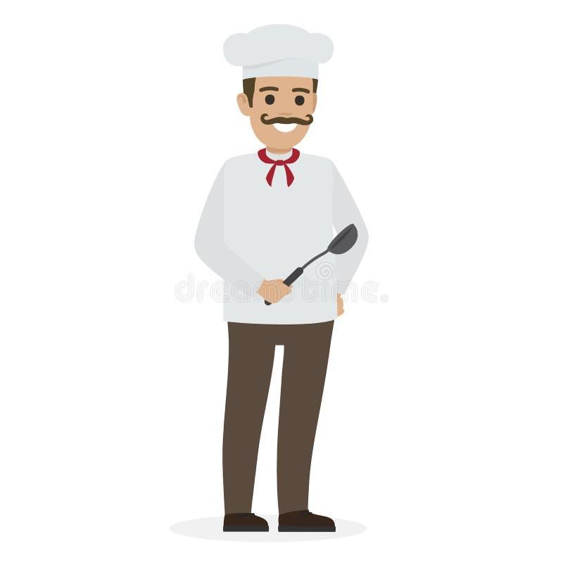 Szefa kuchni jedzenie w Białym Toque i tunice Trzyma kopyść ilustracja wektor