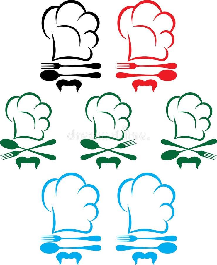 Szefa kuchni kapelusz, łyżka i rozwidlenie, ilustracja wektor