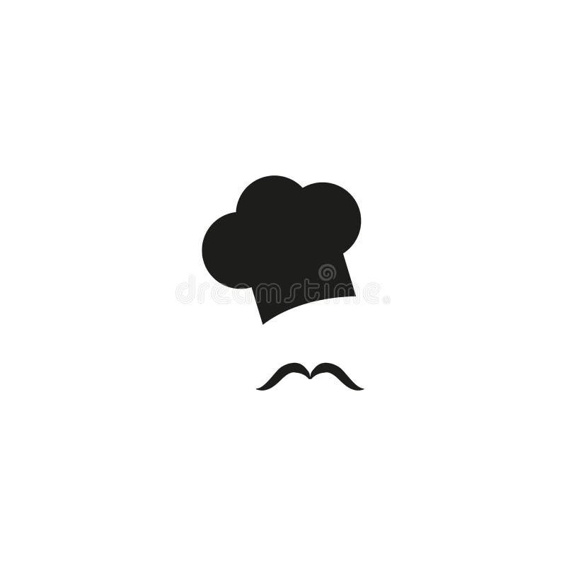 Szefa kuchni kapelusz i wąs, wektorowa ilustracja ilustracja wektor