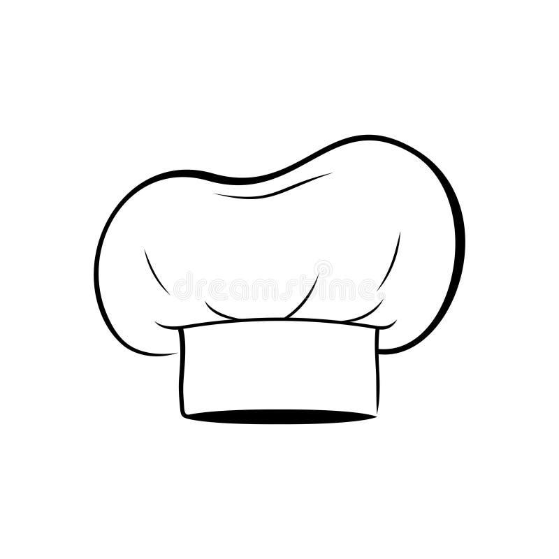 Szefa kuchni kapelusz odizolowywający na białym tle Ubraniowy kucharz royalty ilustracja