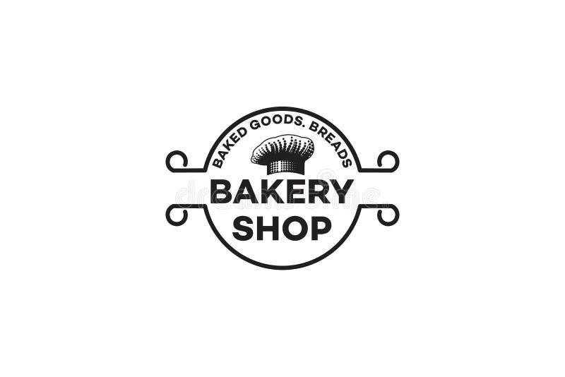 Szefa kuchni kapelusz, rocznik piekarni logo ilustracji