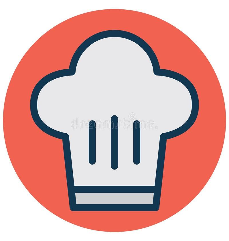Szefa kuchni kapelusz, szefa kuchni toque Odizolowywał Wektorową ikonę która może łatwo redagować lub Modyfikować ilustracji