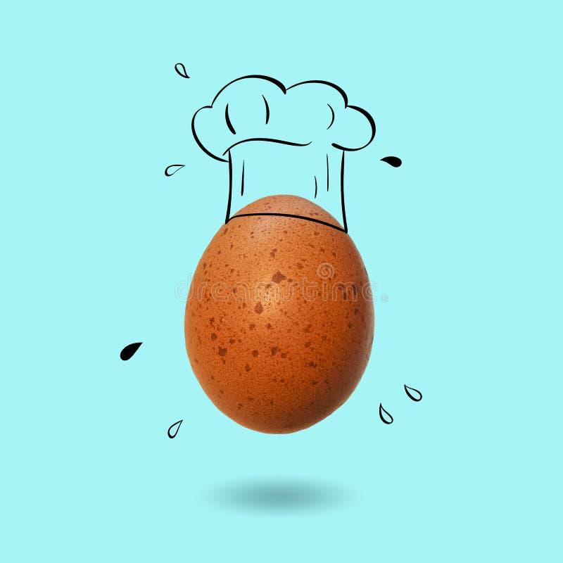 Szefa kuchni kapelusz z jajkiem ilustracji