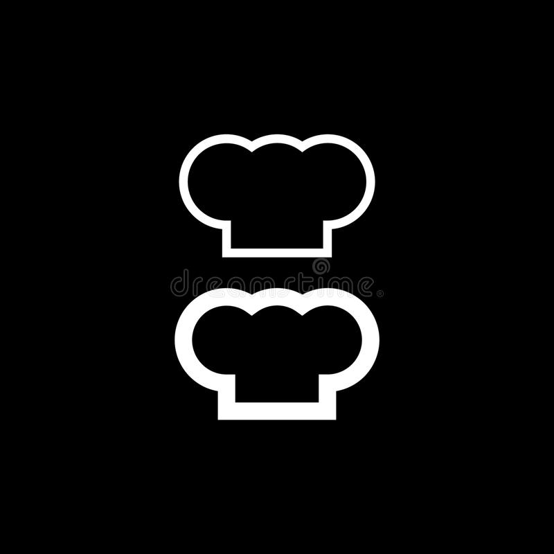 Szefa kuchni kapeluszowa sylwetka odizolowywający set Biały kapeluszowy szefa kuchni kucharz ilustracji