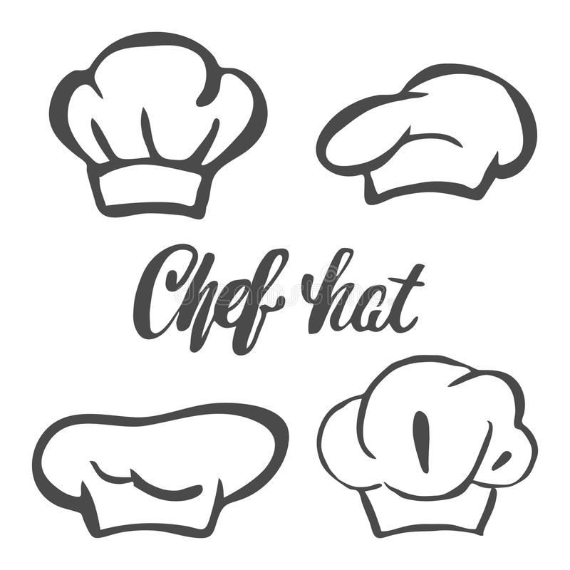 Szefa kuchni kapeluszowa sylwetka odizolowywający set Czarnego kapeluszu szefa kuchni kucharz dla loga royalty ilustracja