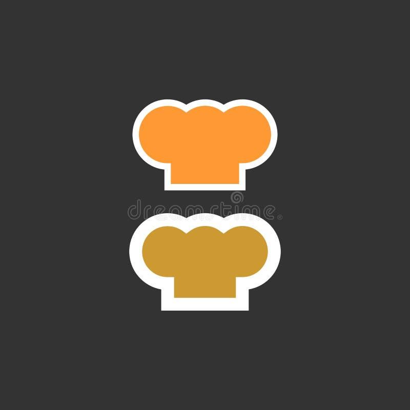 Szefa kuchni kapeluszowa sylwetka odizolowywający set kapeluszowy szefa kuchni kucharz ilustracja wektor