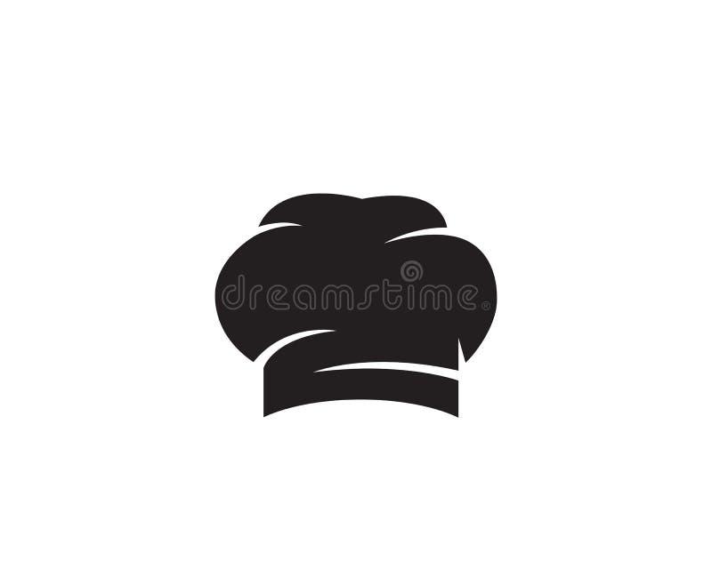 Szefa kuchni kapeluszowy logo i symbolu czerń barwimy wektorową ikonę royalty ilustracja
