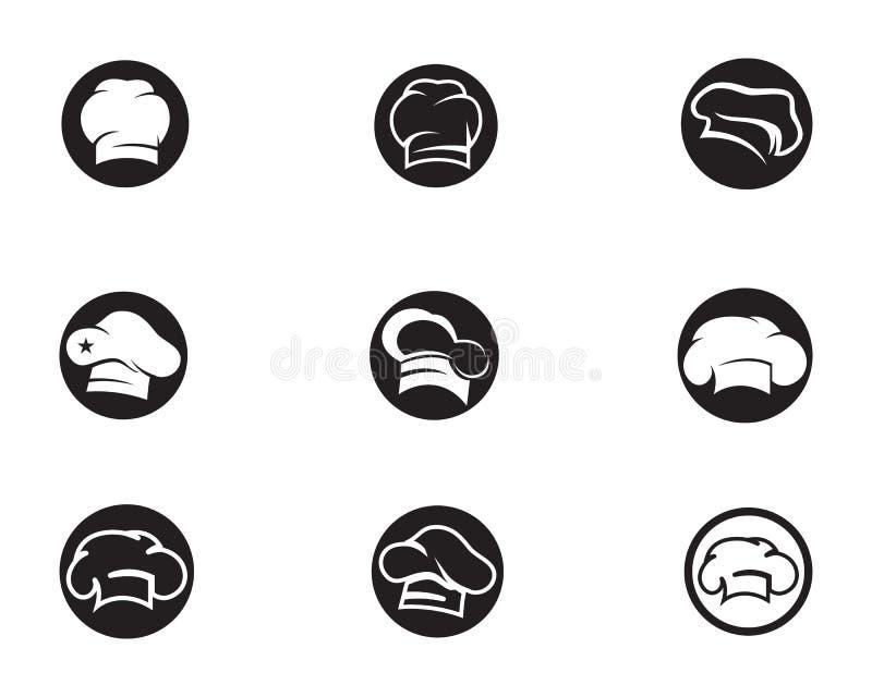 Szefa kuchni kapeluszowy logo i symbolu czerń barwimy wektorową ikonę ilustracja wektor