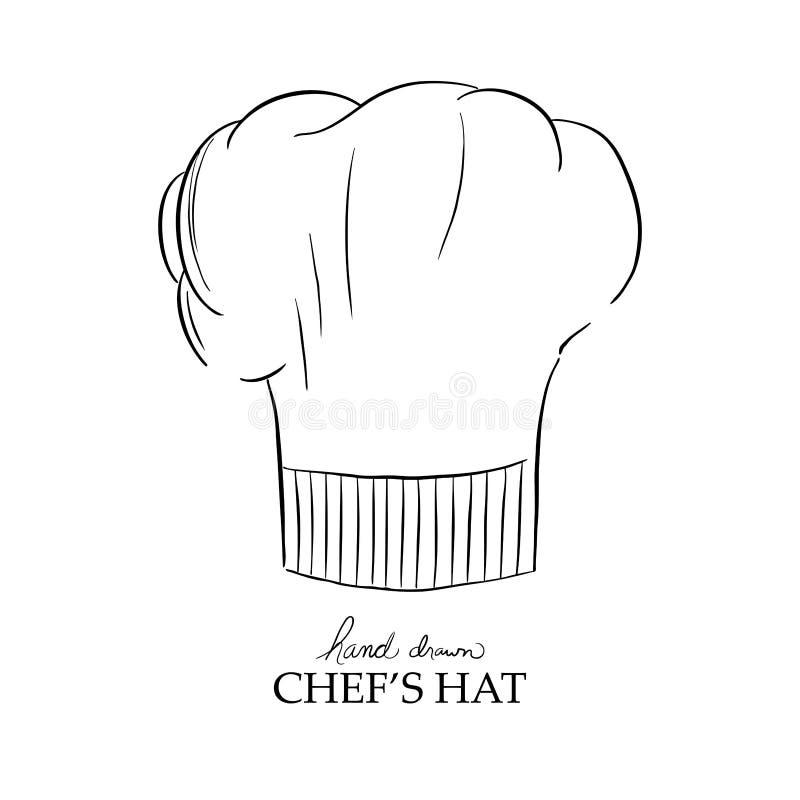 Szefa kuchni kapeluszowy wektor, ręka rysująca ilustracja ilustracji