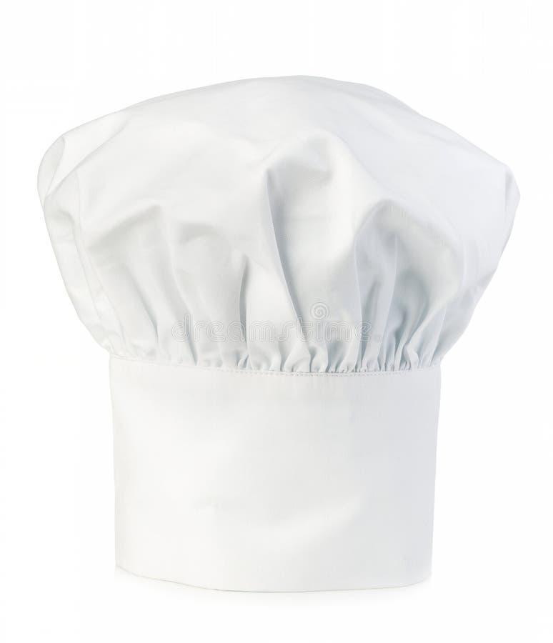 Szefa kuchni kapeluszowy zakończenie odizolowywający na białym tle obraz stock