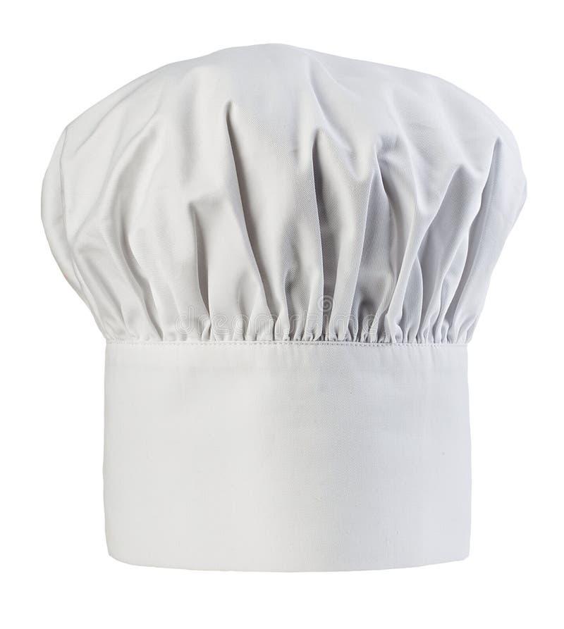 Szefa kuchni kapeluszowy zakończenie odizolowywający na białym tle Kucharz nakrętka zdjęcia stock