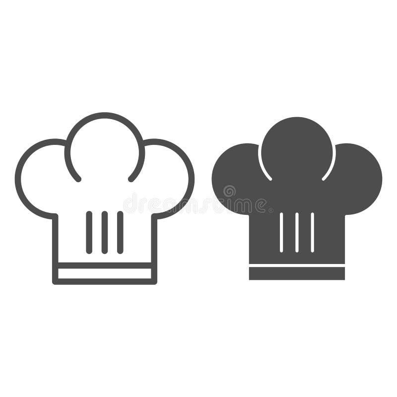 Szefa kuchni kapeluszu linia i glif ikona Szef kuchni nakrętki wektorowa ilustracja odizolowywająca na bielu Jednolity konturu st ilustracja wektor