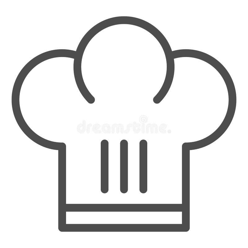 Szefa kuchni kapeluszu linii ikona Szef kuchni nakrętki wektorowa ilustracja odizolowywająca na bielu Jednolity konturu stylu pro ilustracji