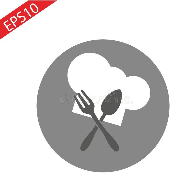 Szefa kuchni kapeluszu znaka ikona Kulinarny symbol Kucharzi Kapeluszowi Okręgu płaski guzik z cieniem ilustracja wektor