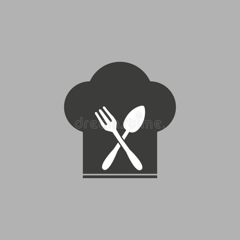 Szefa kuchni kapeluszu znaka ikona Kulinarny symbol Kucharzi kapeluszowi z rozwidleniem i ?y?k? Szaro?? okr?gu guzik z ikon? wekt royalty ilustracja