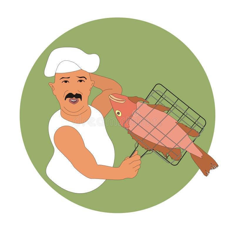 Szefa kuchni kucharstwa ryba royalty ilustracja
