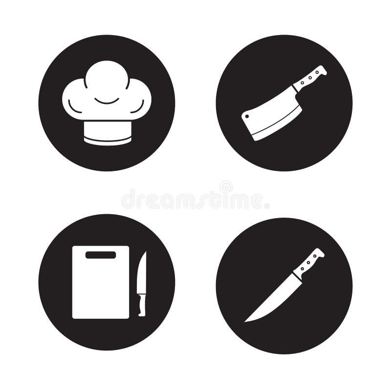 Szefa kuchni kucharstwo wytłacza wzory czarne ikony ustawiać royalty ilustracja