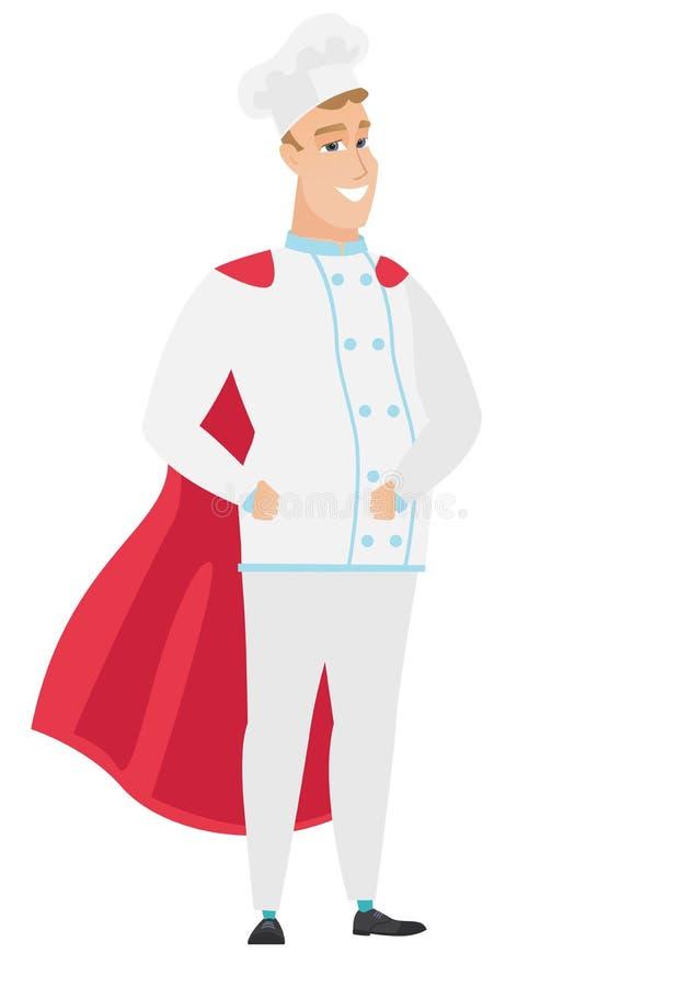 Szefa kuchni kucharz jest ubranym czerwoną bohater pelerynę ilustracja wektor
