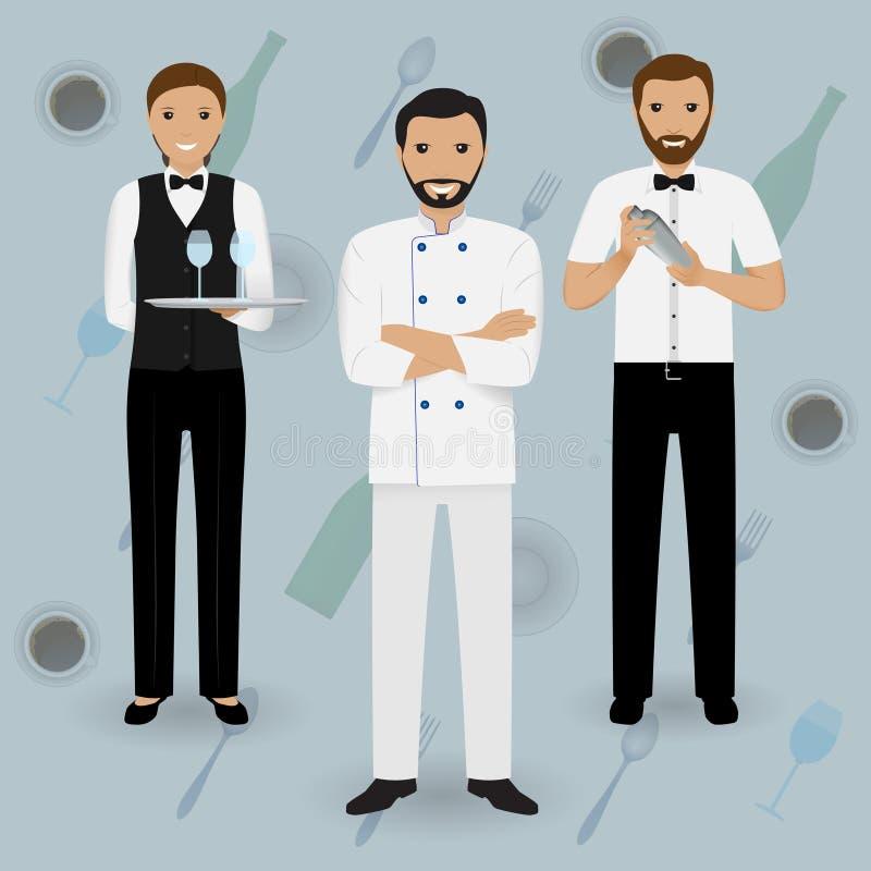 Szefa kuchni kucharz, kelnerka w mundurze i barman stoi wpólnie na tableware tle, Restauracyjni ludzie charakterów royalty ilustracja