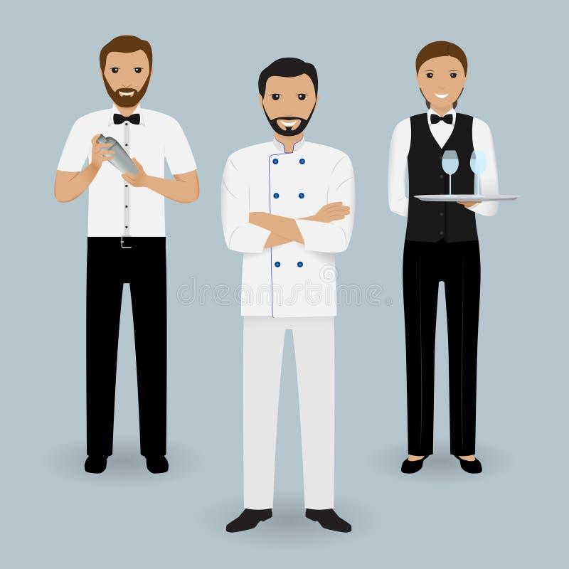 Szefa kuchni kucharz, kelnerka w mundurze i barman stoi wpólnie, Restauracyjni ludzie charakterów ilustracji