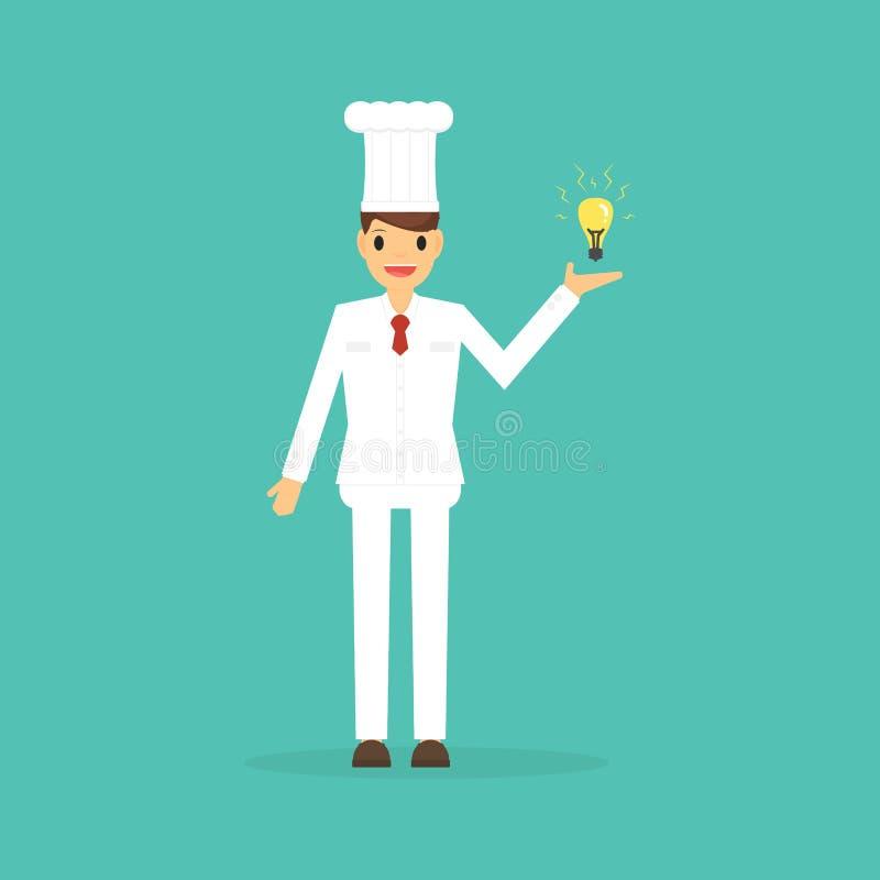 Szefa kuchni kucharz przychodził up z pomysłem dla przepisu ilustracji
