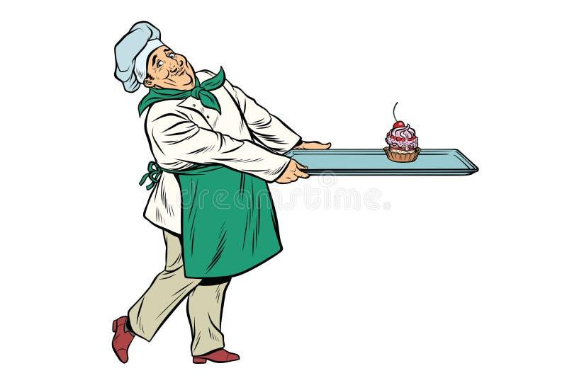 Szefa kuchni kucharz przynosi tacę deserowa babeczka royalty ilustracja
