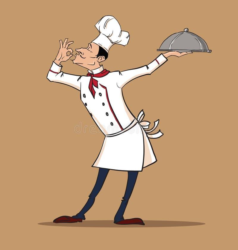 Szefa kuchni kucharz słuzyć jego wyśmienitego naczynie ilustracja wektor
