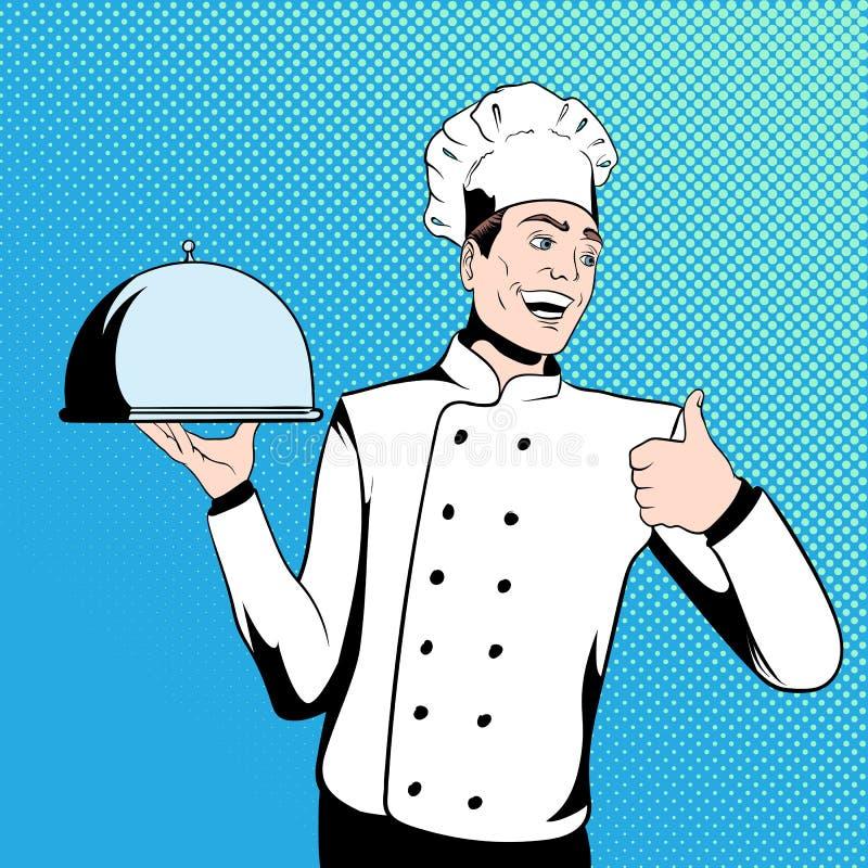 Szefa kuchni kucharz trzyma tacę ilustracja wektor