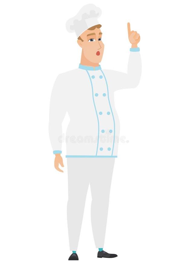 Szefa kuchni kucharz wskazuje palec up z otwartym usta ilustracji