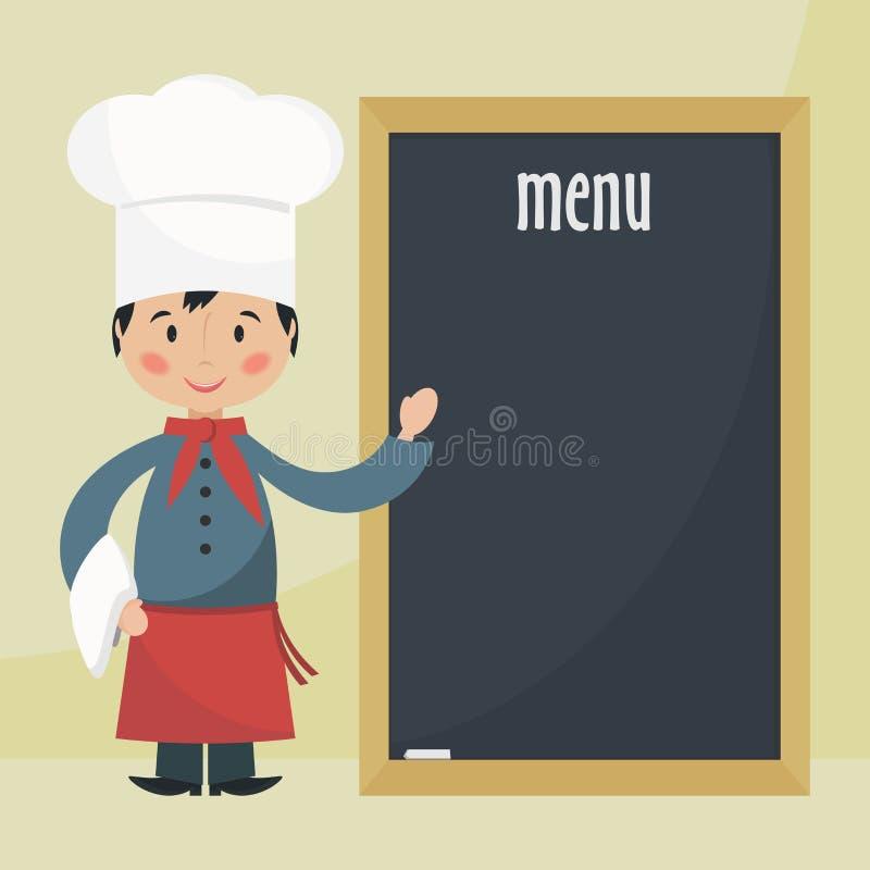 Szefa kuchni kucharz z menu ilustracja wektor