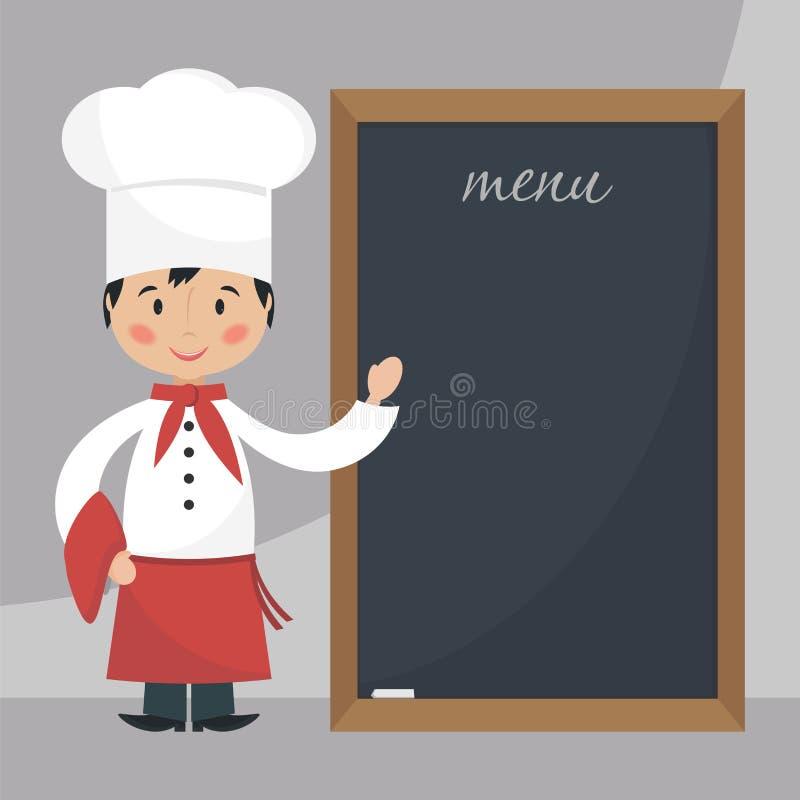Szefa kuchni kucharz z menu royalty ilustracja