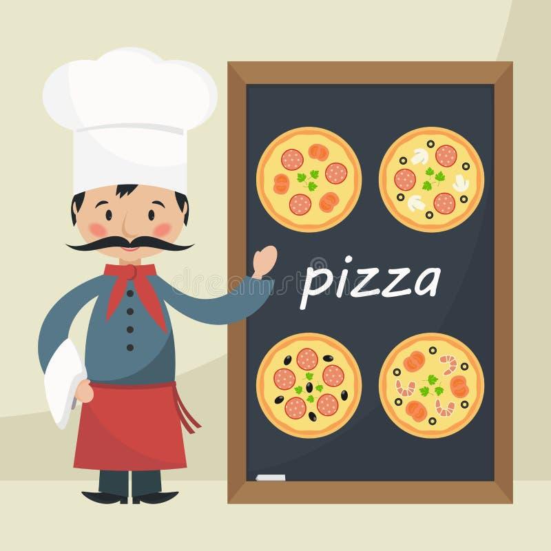 Szefa kuchni kucharz z menu pizzą ilustracji