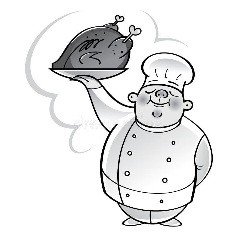 Szefa kuchni kucharz z piec na grillu kurczakiem royalty ilustracja