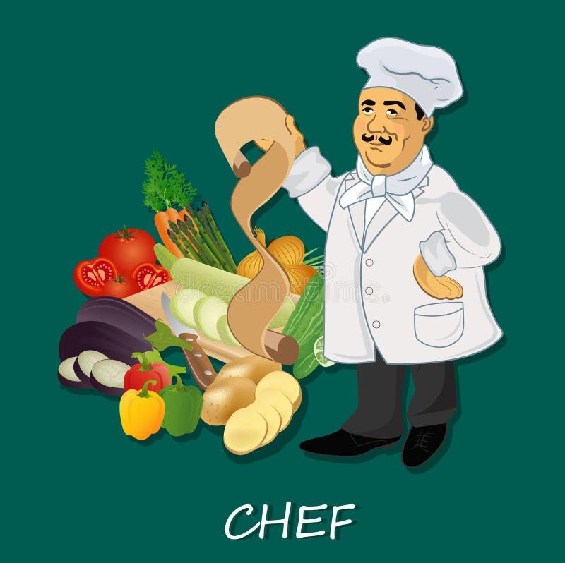 Szefa kuchni kucharz z przepisem i popularnymi warzywami, sztandar, szablon ilustracja wektor