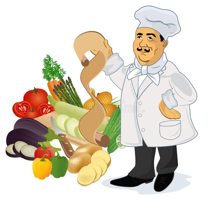 Szefa kuchni kucharz z przepisem i popularnymi warzywami, wektorowa ilustracja royalty ilustracja