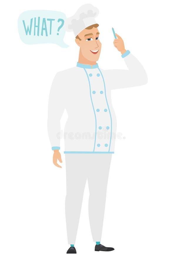 Szefa kuchni kucharz z pytaniem co w mowa bąblu ilustracji
