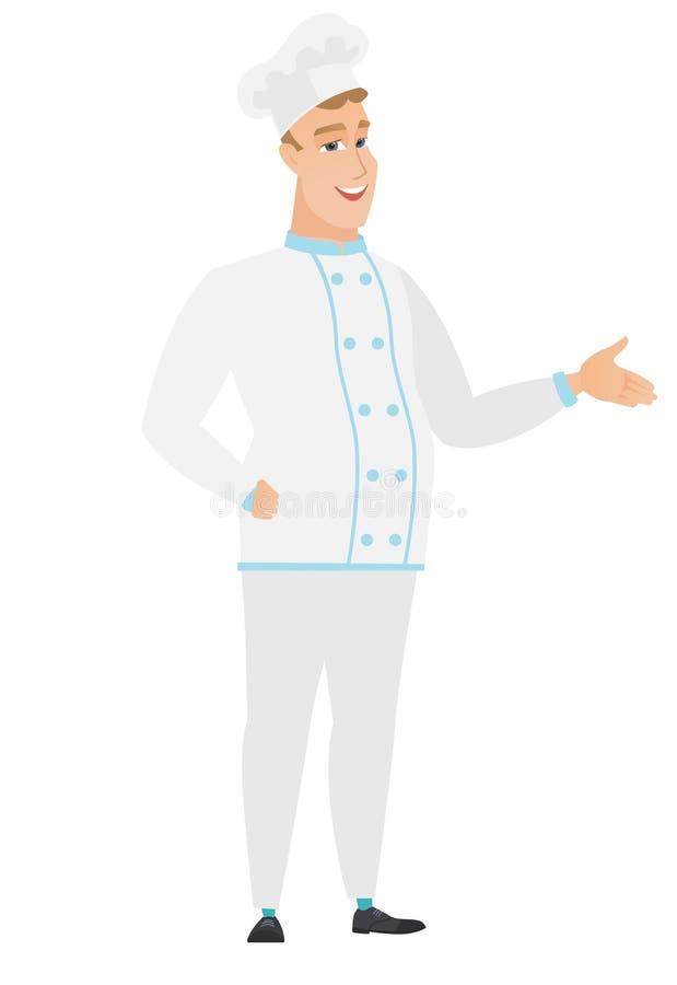 Szefa kuchni kucharz z ręką out w powitalnym gescie ilustracja wektor