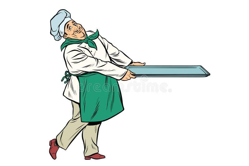 Szefa kuchni kucharz z tacą jedzenie ilustracji