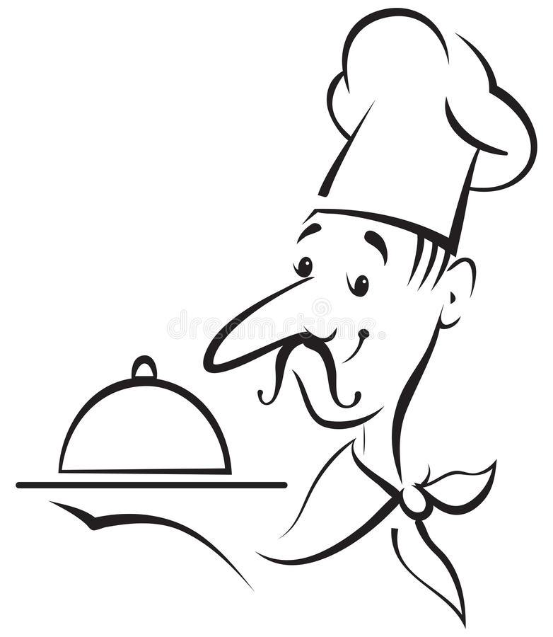 Szefa kuchni kucharza kontur royalty ilustracja
