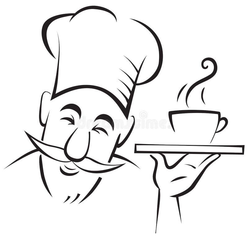 Szefa kuchni kucharza kontur ilustracji
