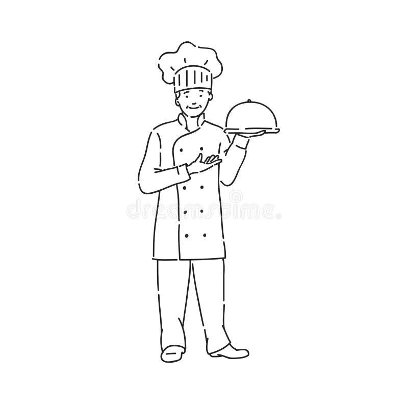 Szefa kuchni kucharza m??czyzna w profesjonalisty mundurze z naczyniem w r?ce Kreskowej sztuki stylu charakteru wektorowy czarny  royalty ilustracja