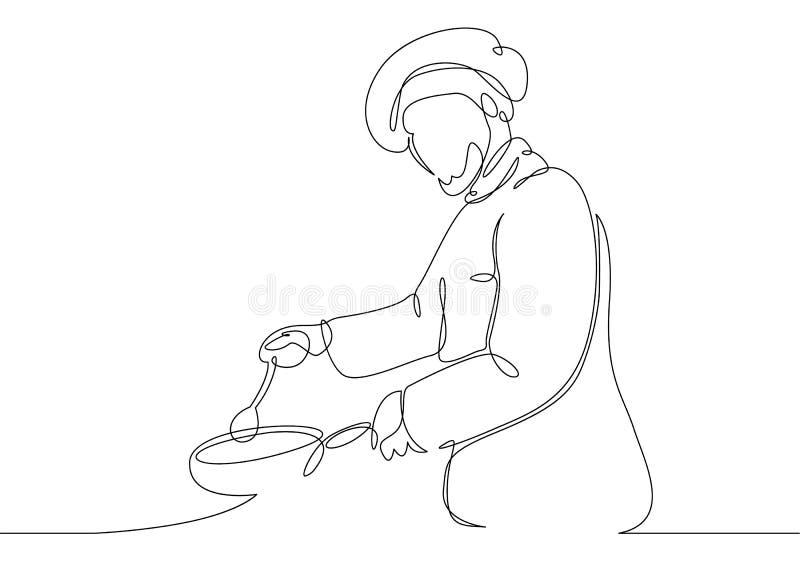 Szefa kuchni kulinarny wyśmienity posiłek ilustracji