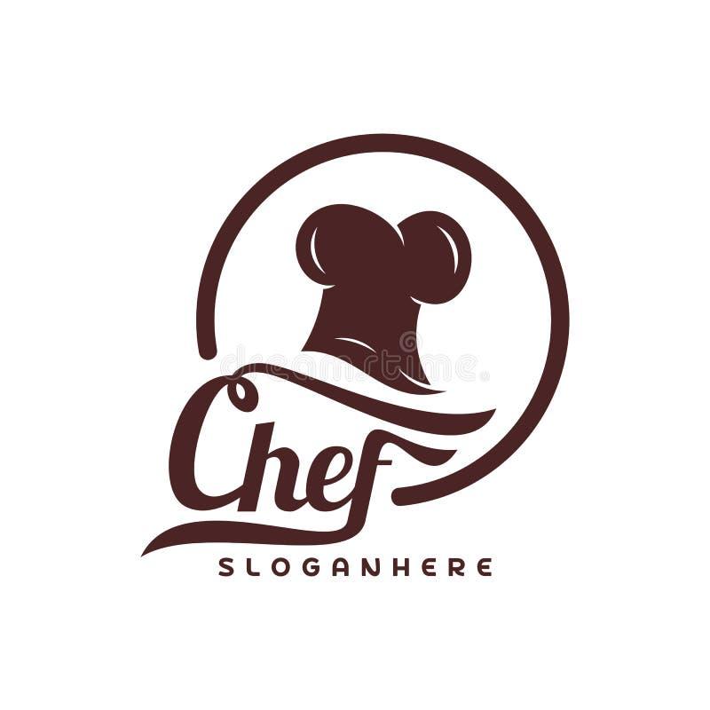 Szefa kuchni loga wektoru Kapeluszowy szablon Szefa kuchni emblemata projekt Karmowy loga wektoru szablon royalty ilustracja