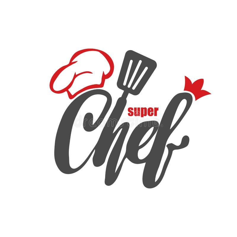 Szefa kuchni logo Pisać list ręki literowanie z nakrętka szefem kuchni Symbol ikony loga projekt royalty ilustracja