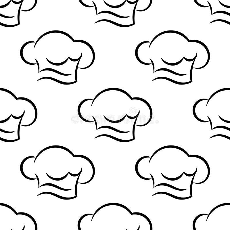 Szefa kuchni lub kucharza nakrętek konturu bezszwowy wzór ilustracja wektor